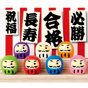 IWAKO Good Luck Daruma 7 Types Assort Green 60 Pcs