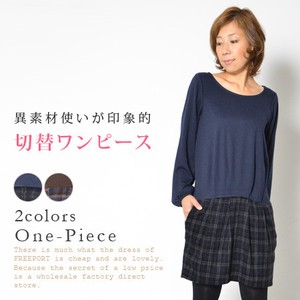 Switching One-piece Dress Top One-piece Dress Long Sleeve Material Crew Neck