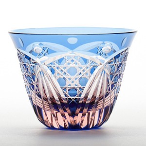 Edo-kiriko Cut Glass Octagon Japanese sake cup Blue Pink 1 Pc