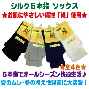 Silk Five Finger Socks 4 Colors