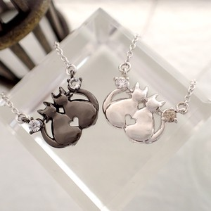 Friendly Cat Double Stone Birthstone Pendant