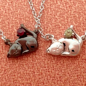 At home Cat Birthstone Pendant