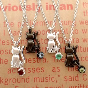 Sitting Oriko Cat Birthstone Pendant