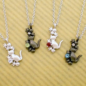 Together Walk Cat Birthstone Pendant