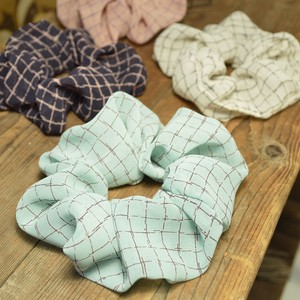 Hand-Painted Grid Pattern Scrunchy 4 Colors Chiffon Material