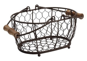 Iron Oval Basket Cream Brown