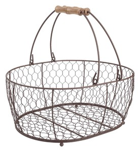 Storage Iron Oval Basket Cream Brown