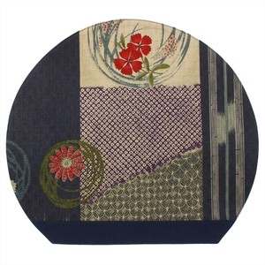 Half-Moon Place Mat Table Fabric Flower Motif Japanese Pattern