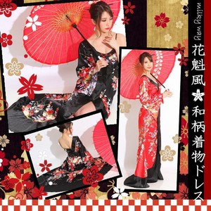 Appreciation Single-shoulder Oiran Bijou Ribbon Attached Long Dress Cosplay