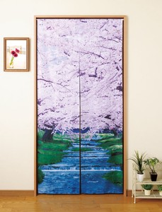 Long Japanese Noren Curtain Waterside Cherry Blossoms Japanese Pattern