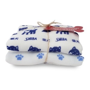 8-layer Cotton Gauze Towel 2-piece set Shiba navy (Made in Japan)