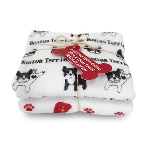 8-layer Cotton Gauze Towel 2-piece set Boston Terrier Black (Made in Japan)