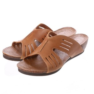 Genuine Leather Cow Leather Line Mesh Casual Wedged Sandal