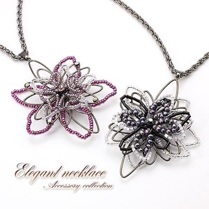 Beads Big Flower Necklace Flower Black Purple