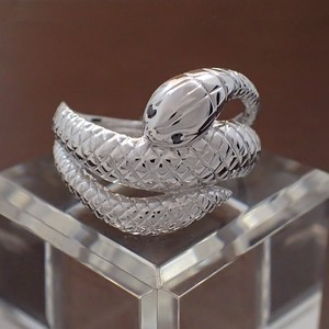 Silver 925 Snake Ring Black Diamond