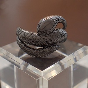 Silver 925 Snake Ring Black Black Diamond