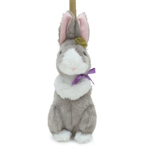 Crown Pouch Gray Bunny / A plush zipper-back bunny-shaped pouch