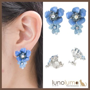 Antique Flower Blue Tone Earring