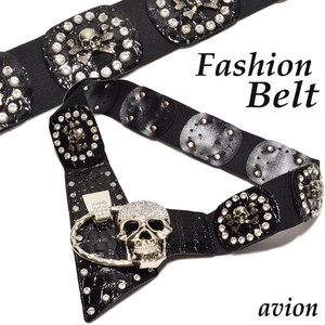 Stone Attached Skull Design Elastic Belt Belt