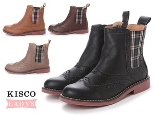 Genuine Leather Cow Leather Checkered Boots