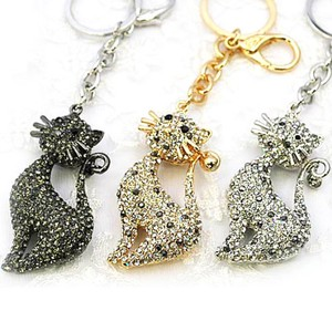 Glitter Cat Key Ring Bag Charm