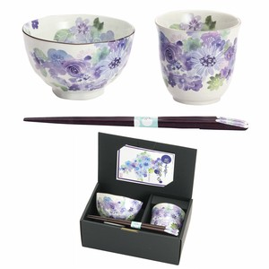 Mino Ware Gift Hana Kobo Rice Bowl Japanese Tea Cup Blue Chopstick