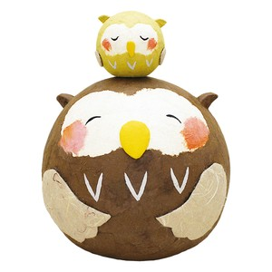 Chigiri Japanese Paper Plump Parent And Child Owl Ornament