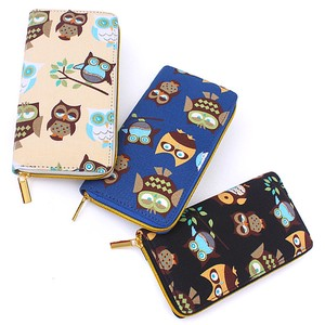 Owl Long Wallet Round Fastener