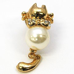 Glitter pin Brooch Pearl cat Gift