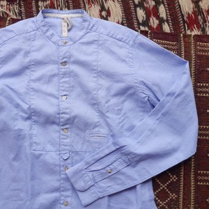 Slim Fit Stand Color Shirt Blue