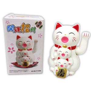 Japanese Style Parent And Child Beckoning cat White