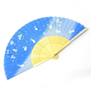 Fashion Accessory Japanese Style Silk Folding Fan Sakura Rabbit Blue