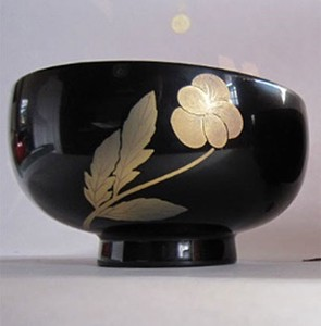 Birth Flower Soup Bowl Pansy Echizen Lacquerware
