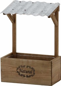 Roof Attached Flower Stand Brown White