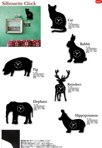 Animal Silhouette Wall Clock cat pig Reindeer Rabbit