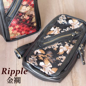 Japanese Pattern Brocade Synthetic Leather Body Bag Bag