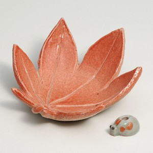 SHIGARAKI Ware Autumn Leaves Plate Ladybugs Incense holder