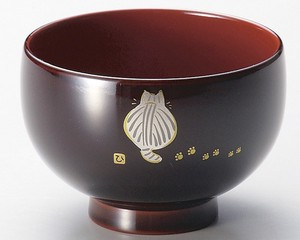 Soup Bowl cat Behind Kids Soup Bowl Echizen Lacquerware