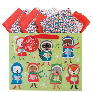 THE GIFT WRAP COMPANY クリスマスペーパーギフトバッグ <動物>