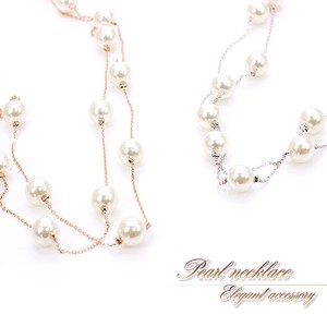 Adult Double Pearl Necklace Pink Gold Silver