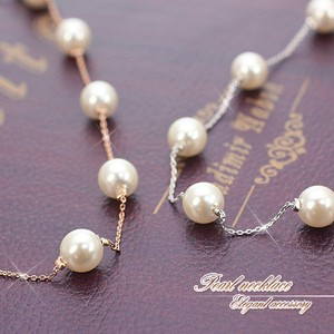 Adult Pearl Necklace Pink Gold Silver