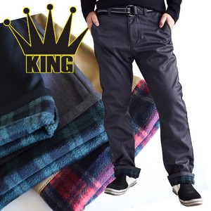 Checkered Fleece Belt Attached Bonding Long Chino Pants