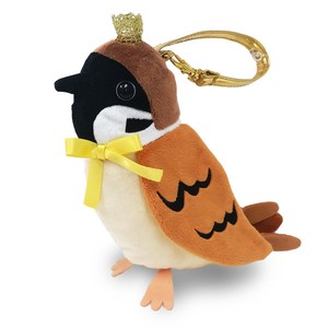 Crowned Pouch Sparrow / A plush zipper-back parakeet shaped pouch