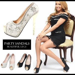 Flower Motif Stone Decoration Open Toe Pumps