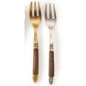 Brass Cutlery Wood Handle Cake Fork