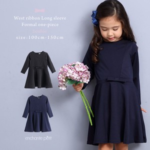 Waist Ribbon Long Sleeve Formal One-piece Dress Black Navy Girls