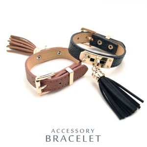 Tassel Attached Leather Bracelet Usually Soft One Point
