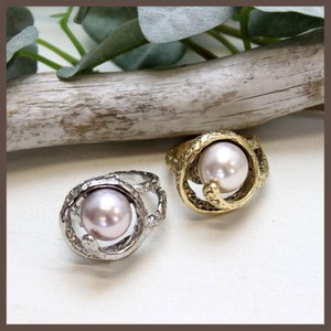 Italy Spiral Metal Pearl Ring 2 Colors