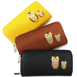 Owl Embroidery Attached Long Wallet Round Fastener