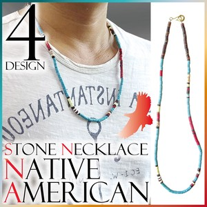Native American Necklace Stone Brass S/S Men's
